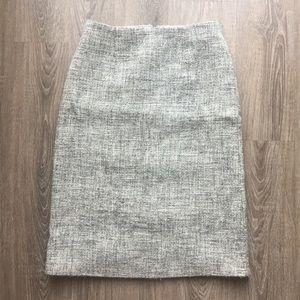 J. Crew Light Grey Wool Tweed Pencil Skirt